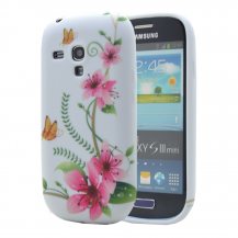 OEMFlexiCase Skal till Samsung Galaxy S3 Mini i8190 - (Rosa flower)