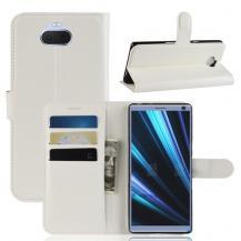 A-One BrandLitchi Grain Plånboksfodral till Sony Xperia 10 Plus - Vit