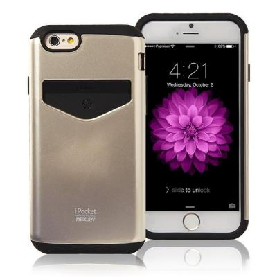 Mercury iPocket skal med kortplats till Apple iPhone 6(S) Plus - Gold