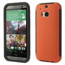 OEMCombo Skal med inbyggd skärmskydd till HTC One M8 (Orange)