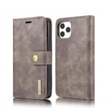 DG.MINGDG.MING Detachable Äkta Läder Plånboksfodral iPhone 12 & 12 Pro - Grå