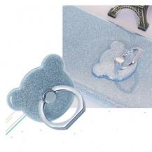 OEMNalleBjörn Glitter Ringhållare till Mobiltelefon - LjusBlå