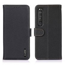 KHAZNEHKHAZNEH - Äkta läder Plånboksfodral Sony Xperia 1 III - Svart