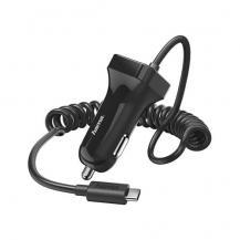 HamaHAMA - Laddare 12V USB-C 2,4A Fast Kabel 1m - Svart