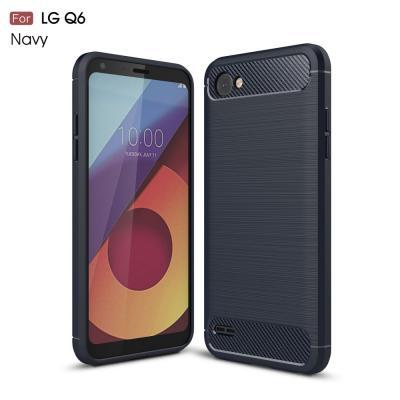 Carbon Brushed Mobilskal till LG Q6 - Blå