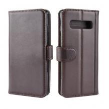 A-One BrandGenuine Split Plånboksfodral till Samsung Galaxy S10 Plus - Brun