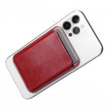 ICARERiCarer Magsafe Läder Magnetic Korthållare iPhone 12/13 (Pro/Max/Mini) - Röd