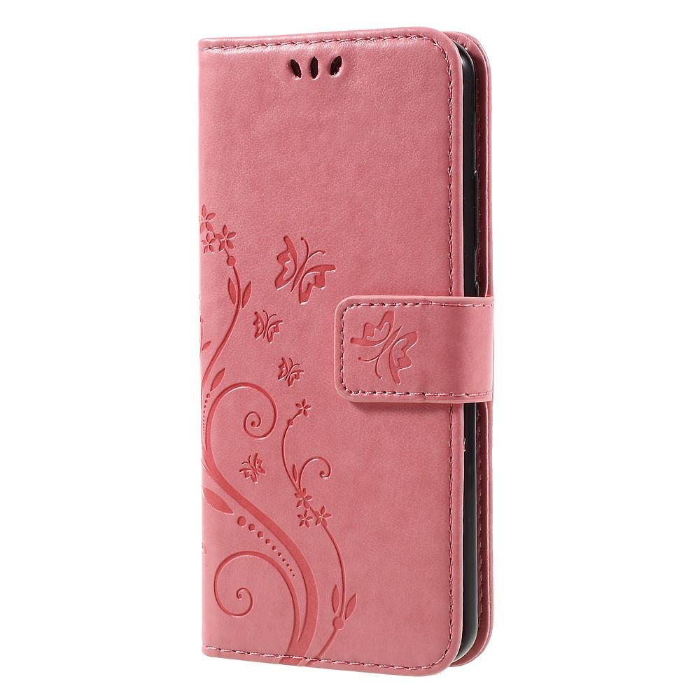 Plånboksfodral med Fjärilar till Huawei P10 - Rosa