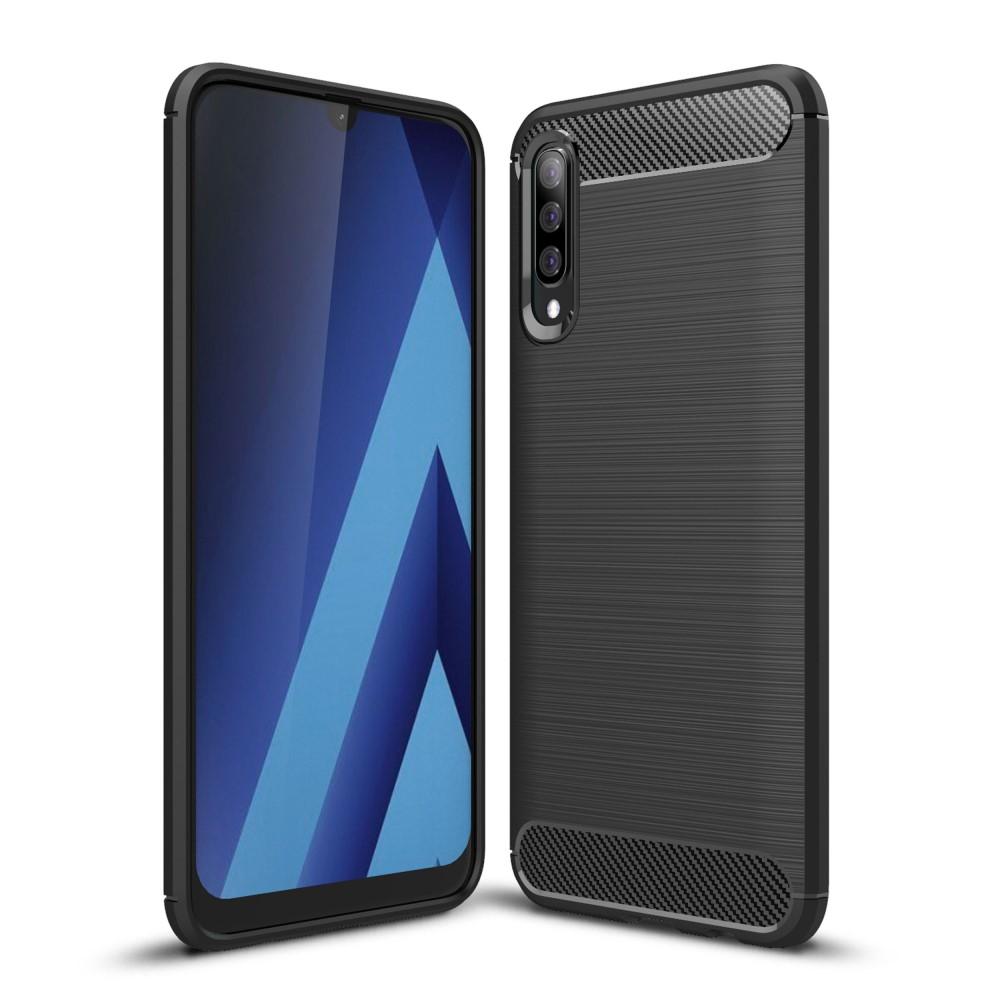 Carbon Brushed Mobilskal till Samsung Galaxy A70 - Svart