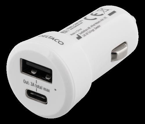 DELTACO Billaddare med USB C och USB A Vit TheMobileStore