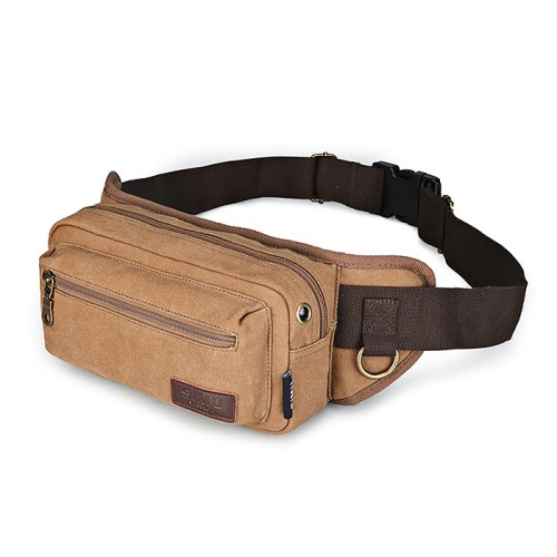 Multifunktionell Adjustable Canvas Waist Bag för Cykling Klättring - Coffee