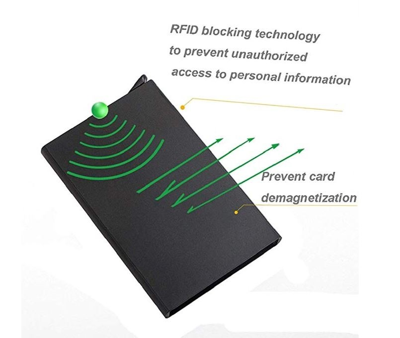 RFID Blocking Credit Card Pop-up Korthållare - Blå