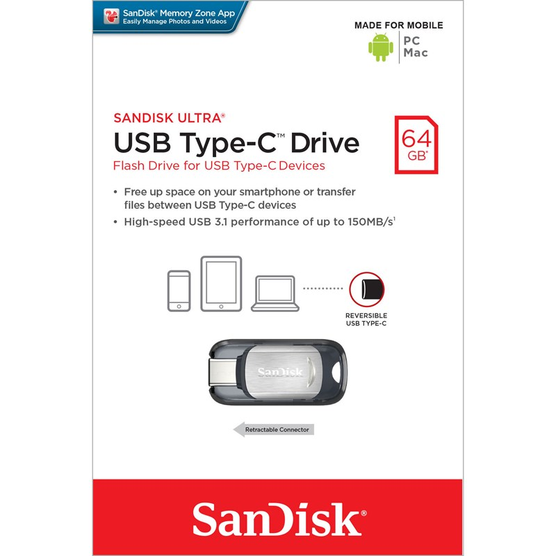 SANDISK USB-minne Typ C Ultra 64GB