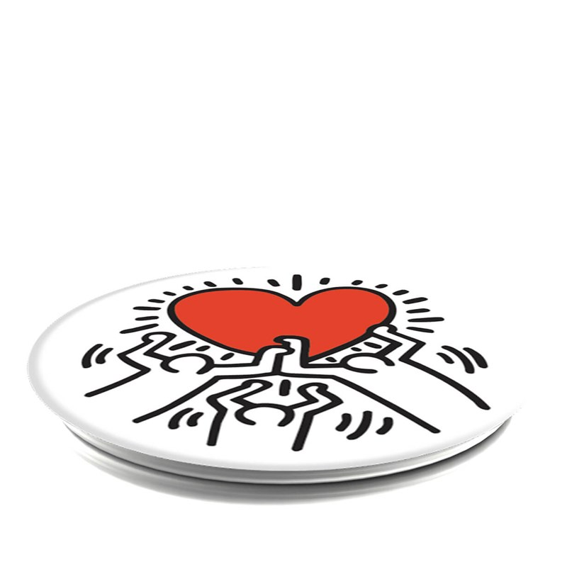 POPSOCKETS 3 Figures Holding A Heart Grip med Ställfunktion Premium Keith Haring