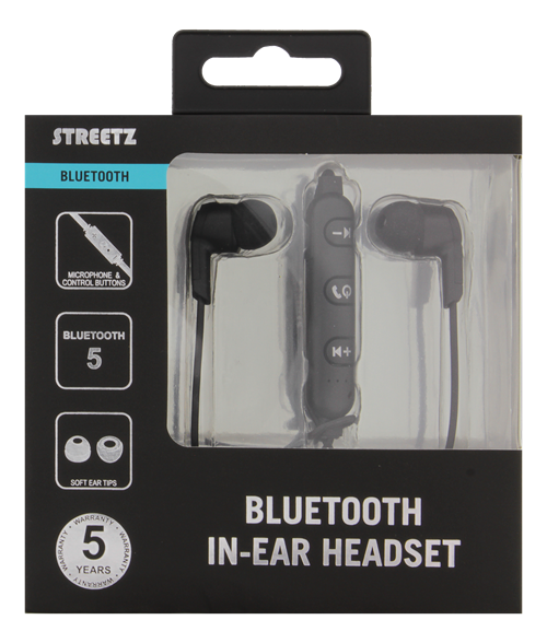 STREETZ In-ear Bluetooth headset, mediekontroller - svart