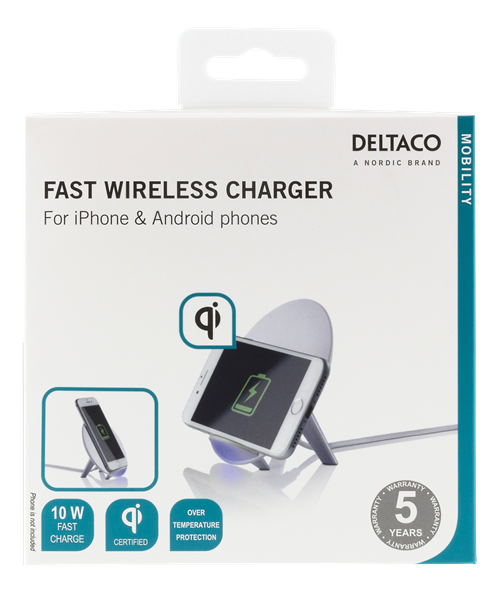 DELTACO Qi snabbladdare för iPhone och Android Vit