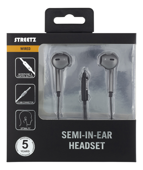 STREETZ semi-in-ear headset, 3.5mm, mikrofon- Grå