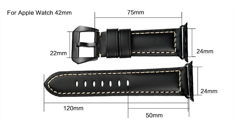 Watchband i äkta läder till Apple Watch 42mm - LjusBrun