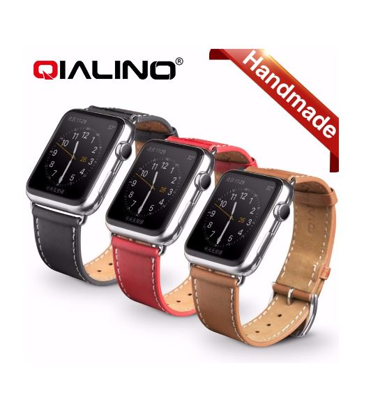 Qialino Watchband i äkta läder till Apple Watch 42mm - Röd