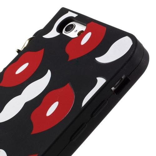 Mobilv auml ska till iPhone 6   6S med guldkedja - Red Lip Mustache 29b695e2951c1