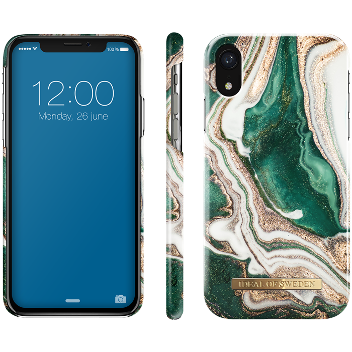 iDeal of Sweden Fashion Case iPhone XR - Golden Jade Marble