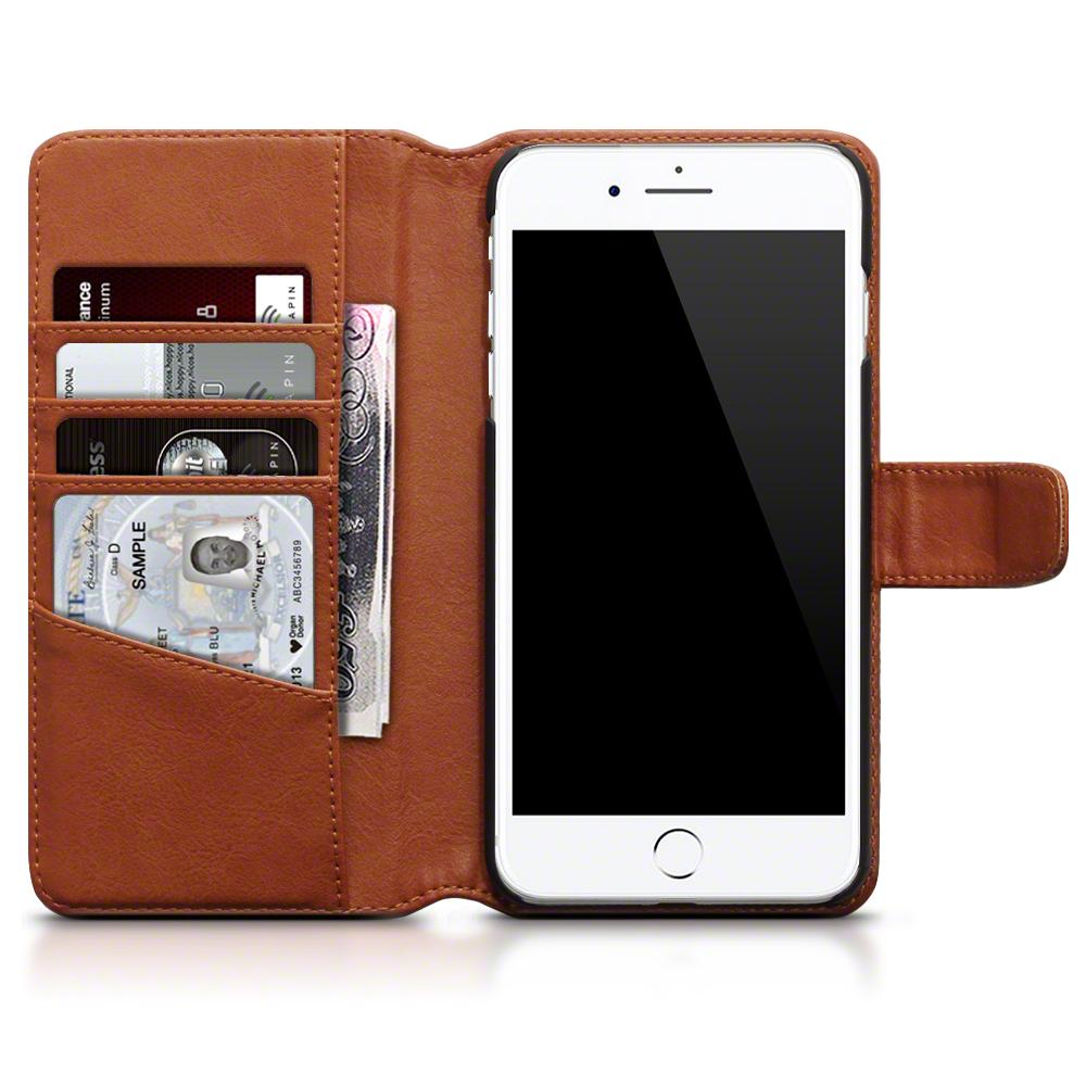 Plånboksfodral av äkta läder till iPhone 7 Plus Cognac
