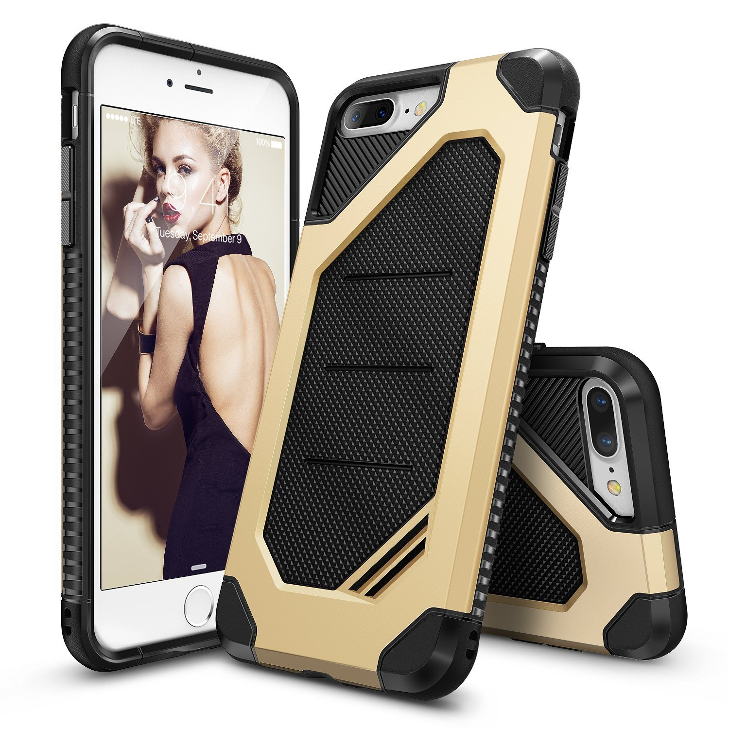Ringke Double Layer Armor Tough Skal till iPhone 7 Plus - Gold