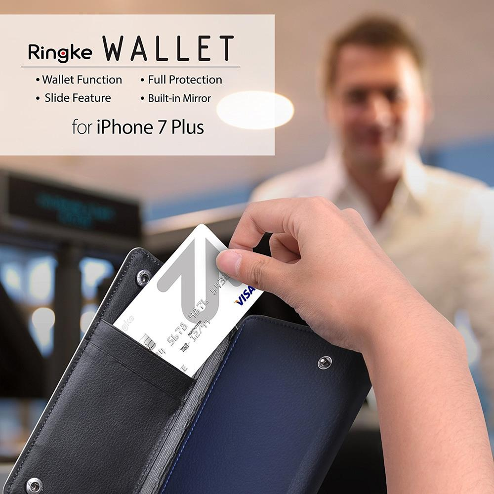 Ringke Wallet till Apple iPhone 8/7 (Vit - Blå)