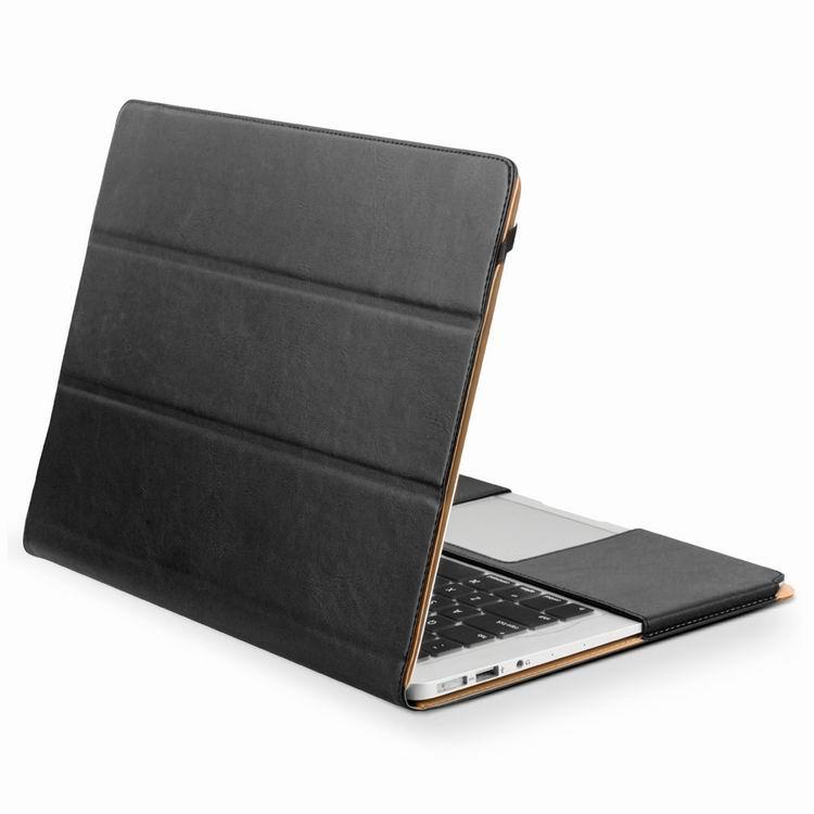 15.4 inch Qialino äkta läder väska till Dator Laptop Svart