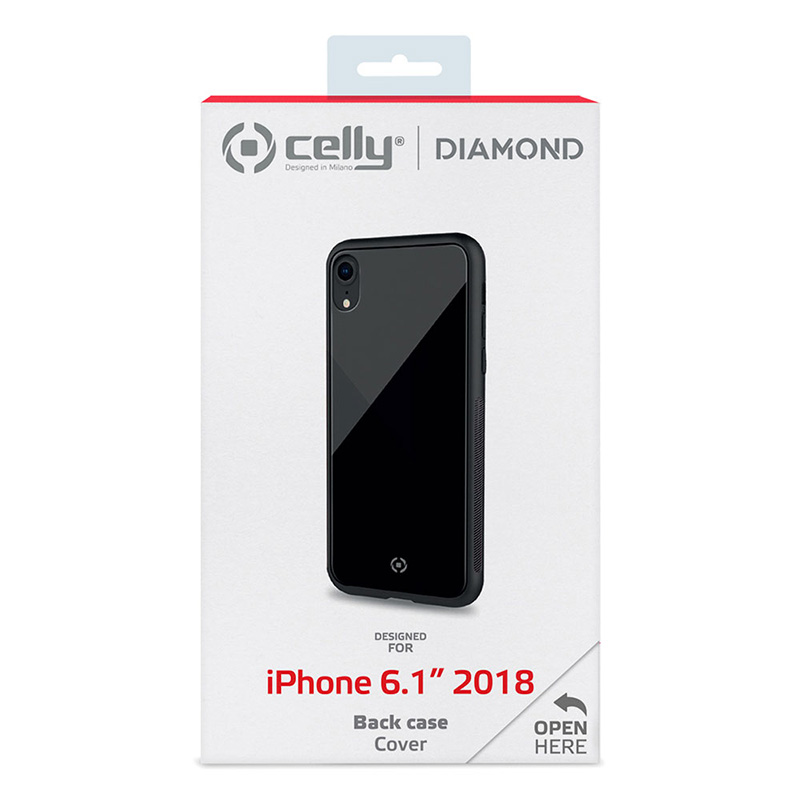 Celly Diamond Glass Case iPhone Xr Black