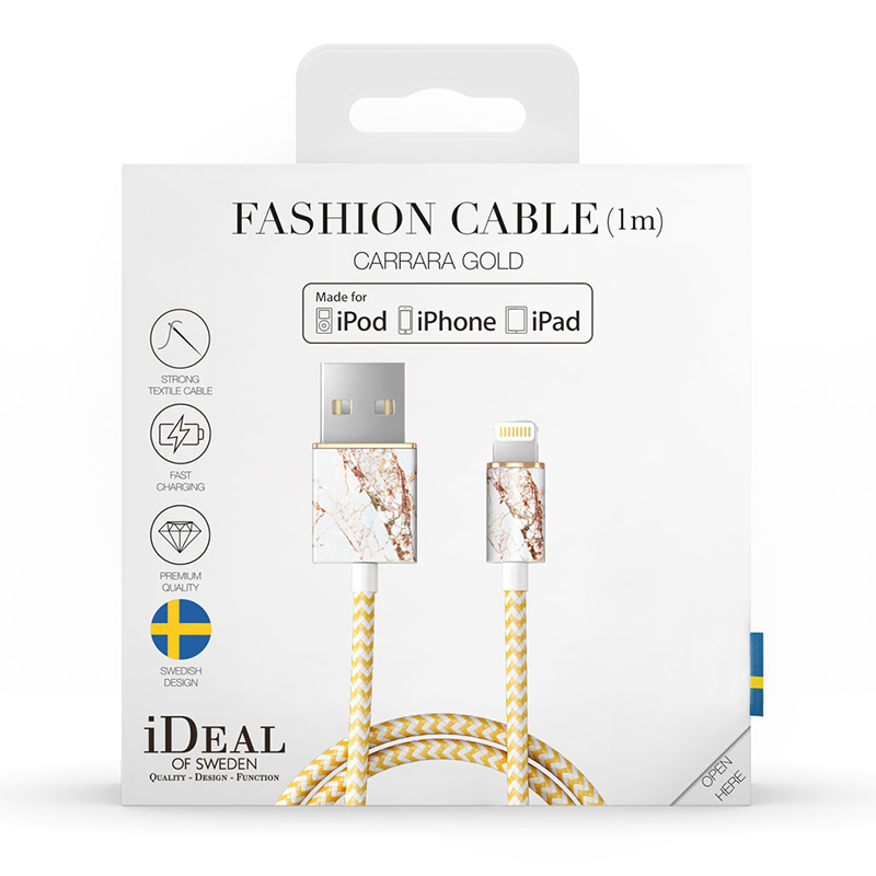iDeal of Sweden Fashion Cable Lightning 1 M, Carrara Gold