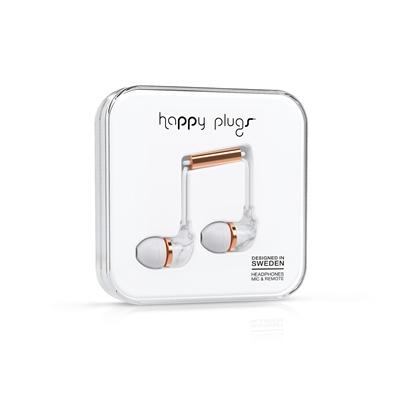 Happy Plugs In-Ear - White marble gold