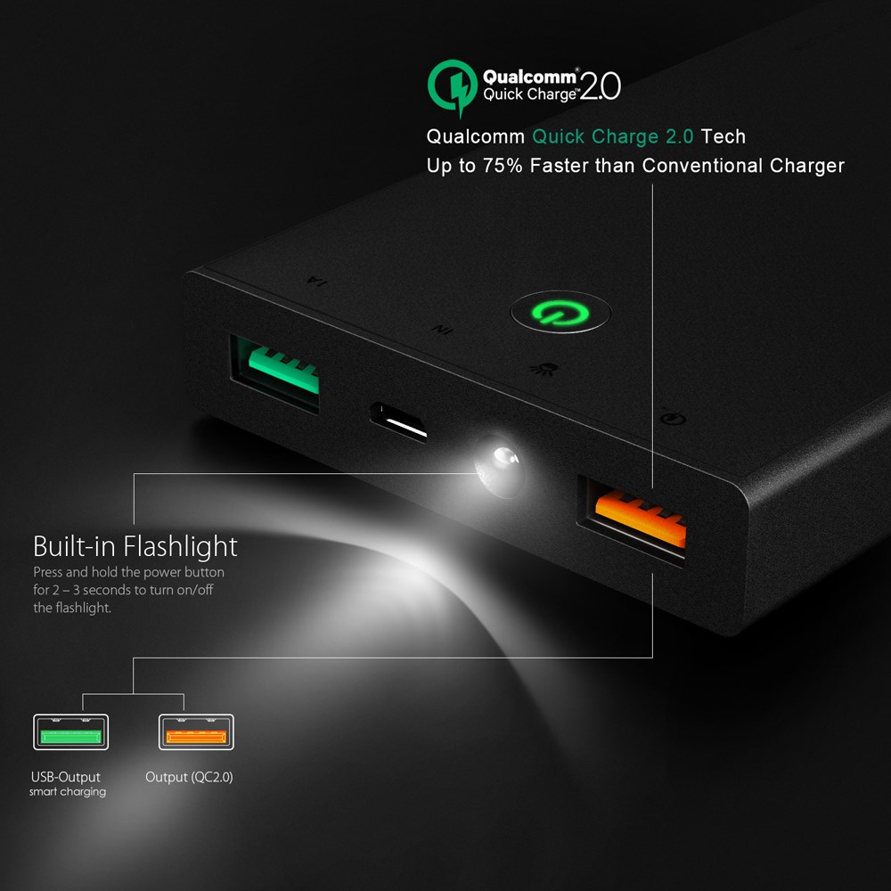 Aukey Qualcomm Certified 16000 mAh Quick Charge Powerbank