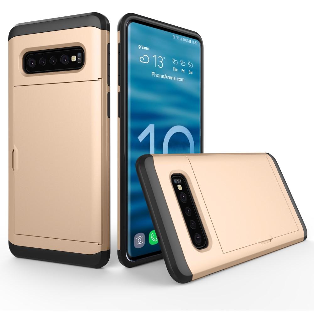 Hybrid Armor med Kortplats till Samsung Galaxy S10 Plus - Guld