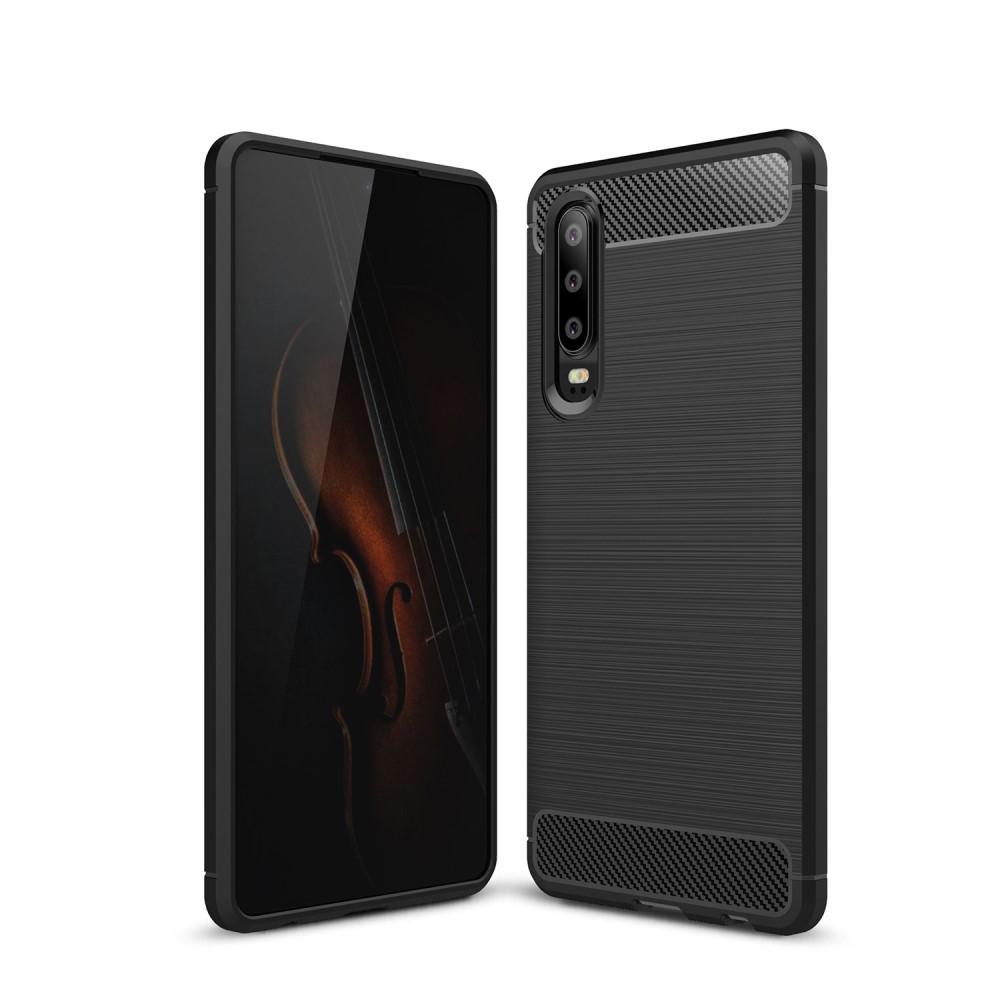 Carbon Brushed Mobilskal till Huawei P30 - Svart