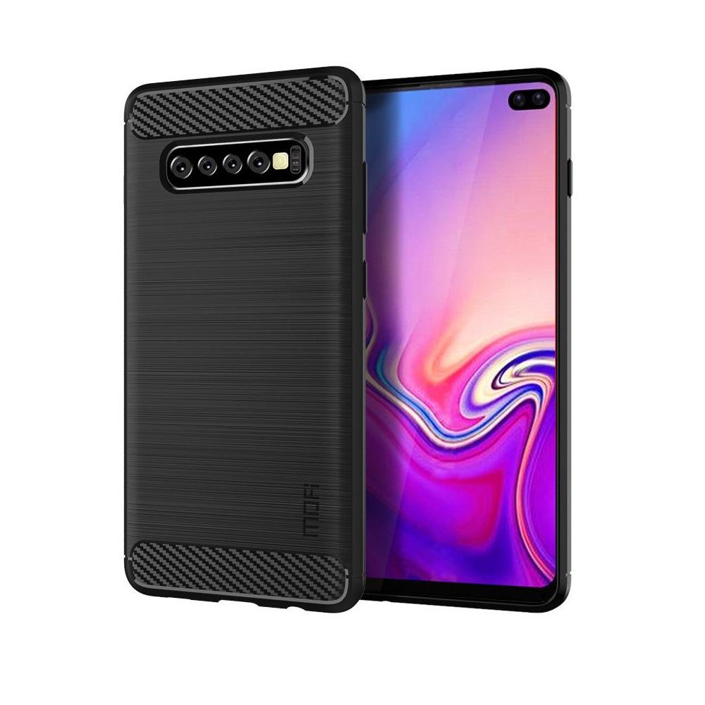 Carbon Brushed Mobilskal till Samsung Galaxy S10 Plus - Svart