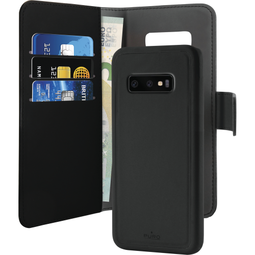 Puro EcoLeather Wallet Detachable till Samsung Galaxy S10 - Svart