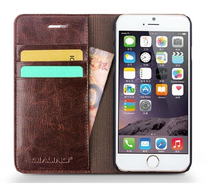 ... Qialino Äkta läder Plånboksfodral till Apple iPhone 6   6S - Brun.  Qialino  Auml kta l auml der Pl aring nboksfodral till Apple ... 0cfbf0d676ee5