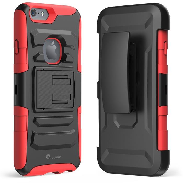 Prime dual layer holster skal med kick stand till Apple iPhone 6(S) Plus - Röd