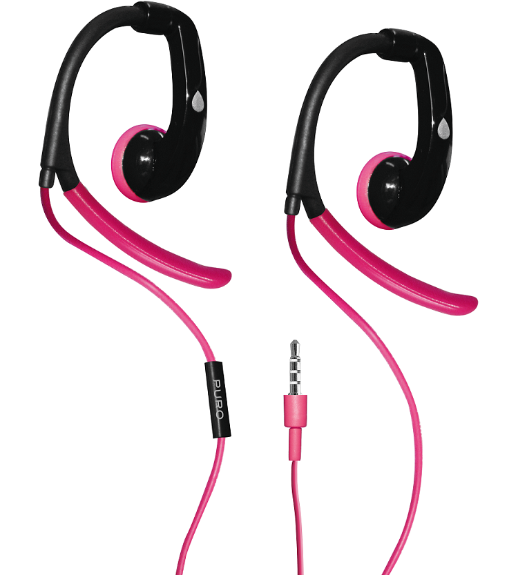 Puro Stereo Earphone Sport w/Earhook - Rosa