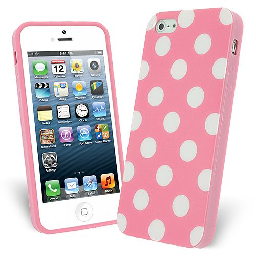 FlexiCase Skal till Apple iPhone 5/5S/SE - Polkadots