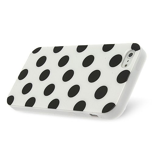 FlexiCase Skal till Apple iPhone 5/5S/SE - Polkadots (Vit)