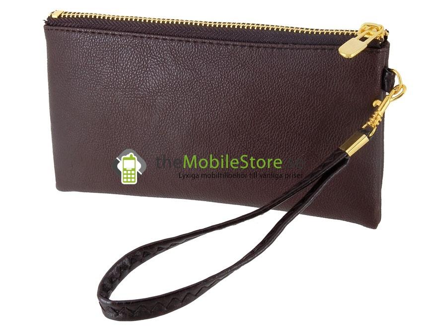 Stor mobilväska med dragkedja och handrem (Brun
