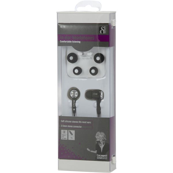 DELTACO in-ear headphones - (HL-78) - Svart