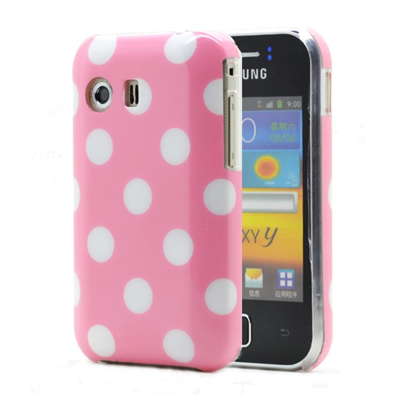 Baksideskal till Samsung Galaxy Y S5360 Polkadots - Rosa