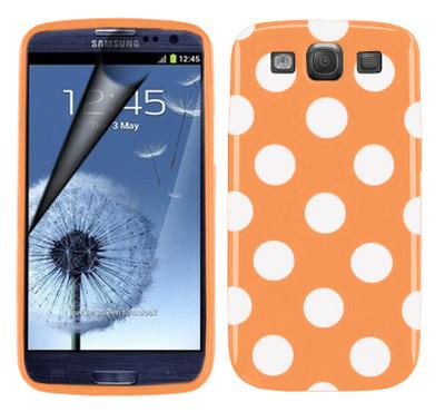 Polka dot FlexiCase Skal till Samsung Galaxy S3 i9300 (Orange)