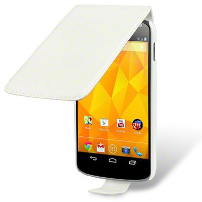 Flip mobilväska till Google LG Nexus 4 (Vit)