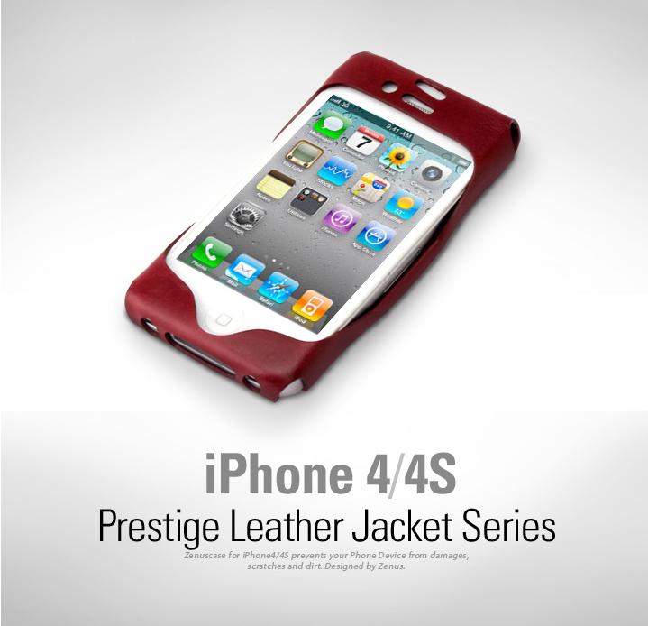 Zenus Leather Jacket väska till Apple iPhone 4S 4 (Svart)