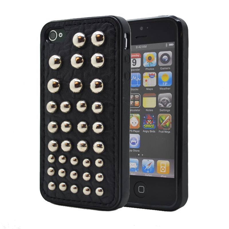 Studded leather pattern FlexiSkal till Apple iPhone 4S/4