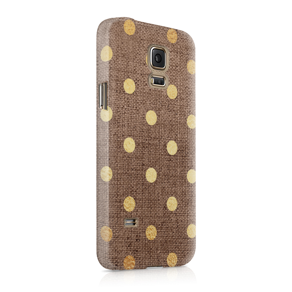 Skal till Samsung Galaxy S5 - Canvas Polka - Guld/Brun